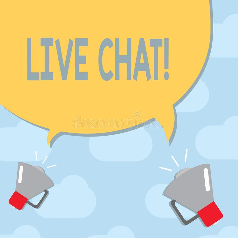Text sign showing Live Chat. Conceptual photo Conversation on the internet Multimedia mobile communication royalty free illustration