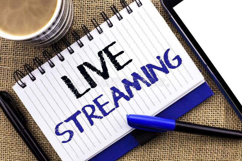 Text sign showing Live Streaming. Conceptual photo Media real-time transmission Multimedia Technology Broadcast written on Noteboo stock photo