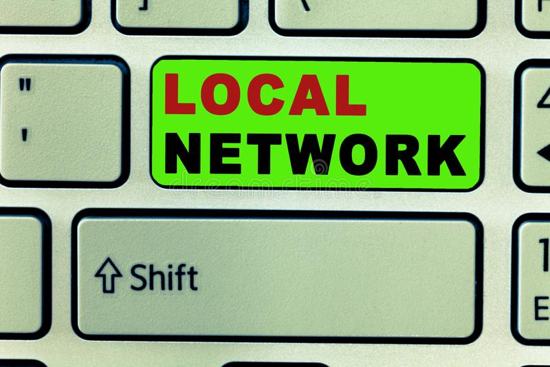 Text sign showing Local Network. Conceptual photo Intranet LAN Radio Waves DSL Boradband Switch Connection.  stock image