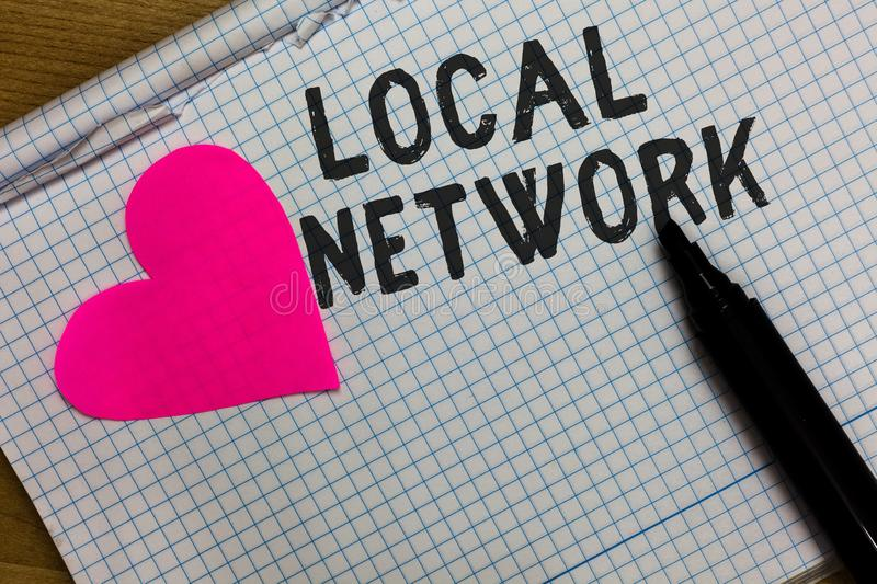 Text sign showing Local Network. Conceptual photo Intranet LAN Radio Waves DSL Boradband Switch Connection Squared notebook paper. Ripped sheets Marker romantic royalty free stock image
