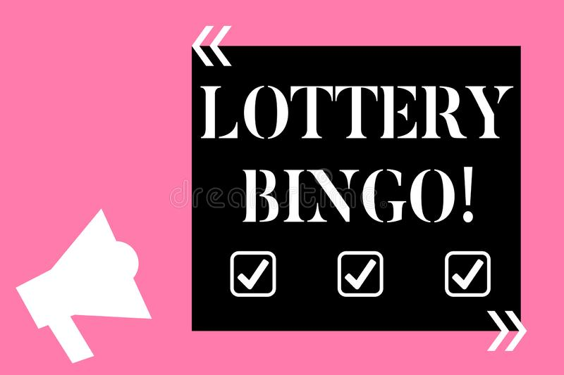 Text sign showing Lottery Bingo. Conceptual photo game of chance in which each player matches numbers printed Isolated. Text sign showing Lottery Bingo. Business vector illustration