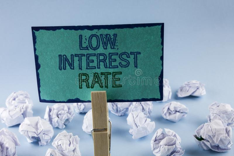 Text sign showing Low Interest Rate. Conceptual photo Manage money wisely pay lesser rates save higher written on Sticky Note Pape. Text sign showing Low royalty free stock image