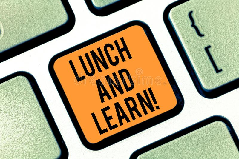 Text sign showing Lunch And Learn. Conceptual photo Have meal and study motivation for education learning eating. Keyboard key Intention to create computer royalty free stock images