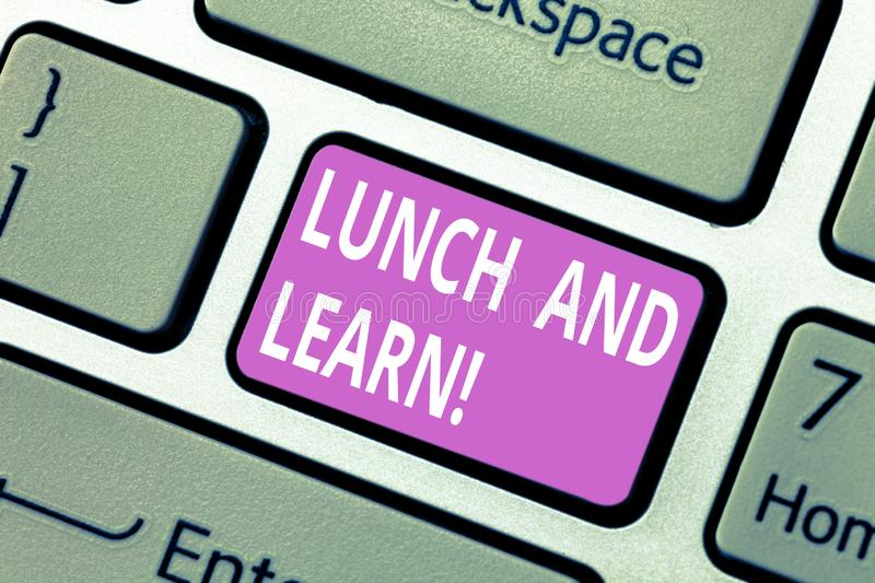 Text sign showing Lunch And Learn. Conceptual photo Have meal and study motivation for education learning eating. Keyboard key Intention to create computer stock photo