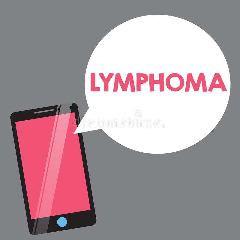 Text sign showing Lymphoma. Conceptual photo Cancer that begins in infection fighting cells of the immune system.  royalty free illustration