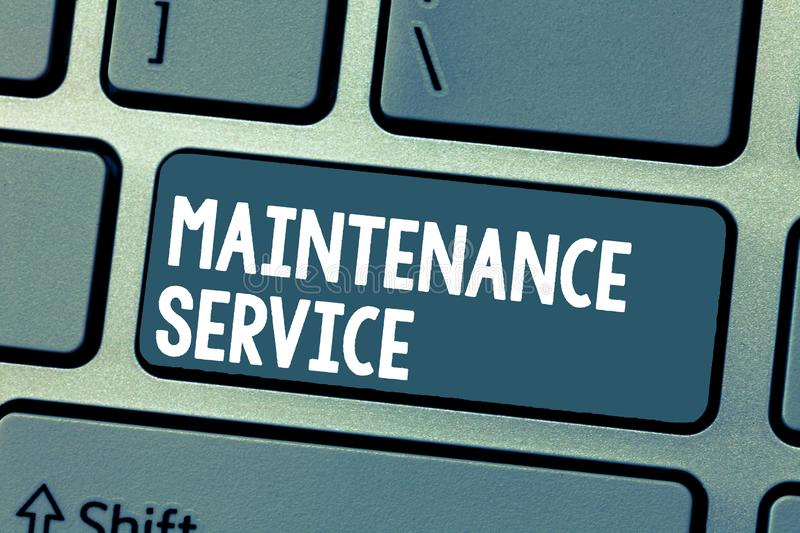 Text sign showing Maintenance Service. Conceptual photo Keep a Product Service in Good Operating Condition.  royalty free stock photo