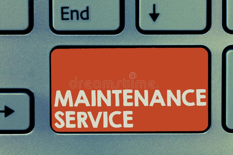 Text sign showing Maintenance Service. Conceptual photo Keep a Product Service in Good Operating Condition.  royalty free stock image
