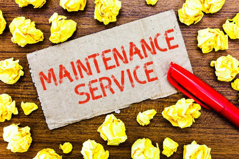 Text sign showing Maintenance Service. Conceptual photo Keep a Product Service in Good Operating Condition.  stock images