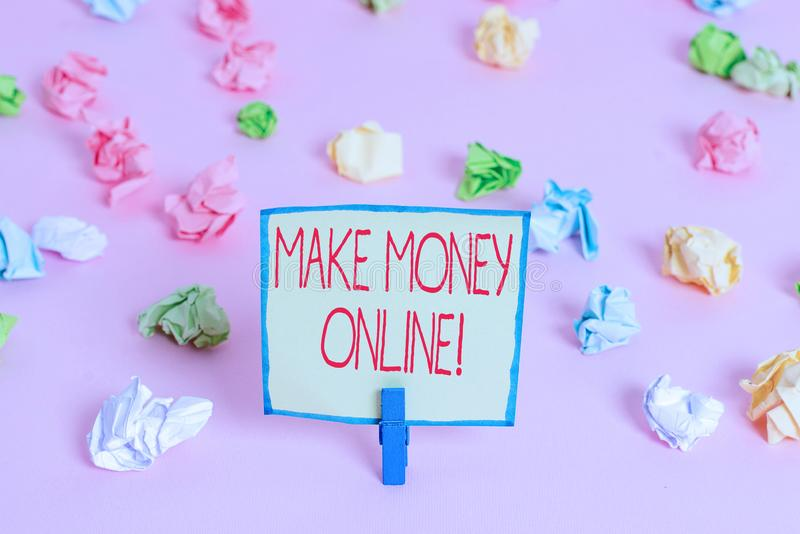 Text sign showing Make Money Online. Conceptual photo making profit using internet freelancing or marketing Colored. Text sign showing Make Money Online stock photo