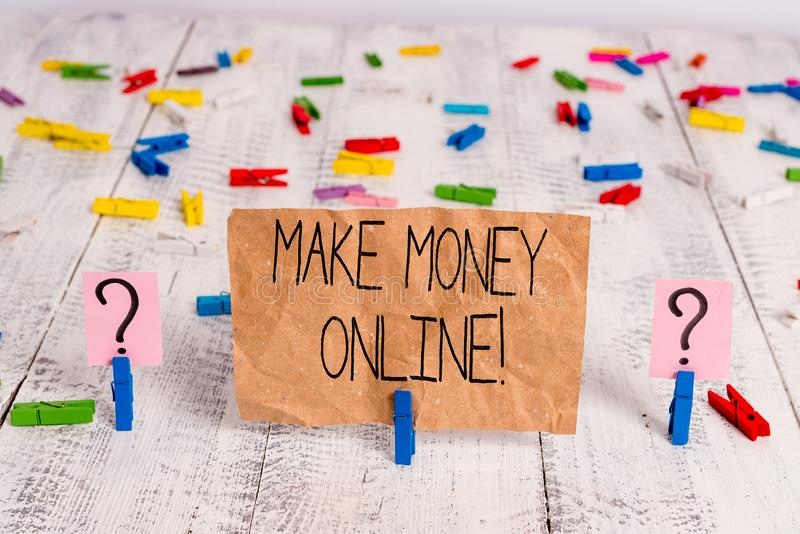 Text sign showing Make Money Online. Conceptual photo making profit using internet freelancing or marketing Scribbled and. Text sign showing Make Money Online royalty free stock photo