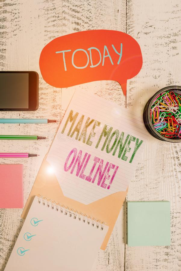 Text sign showing Make Money Online. Conceptual photo making profit using internet like freelancing or marketing Envelop. Text sign showing Make Money Online royalty free stock images