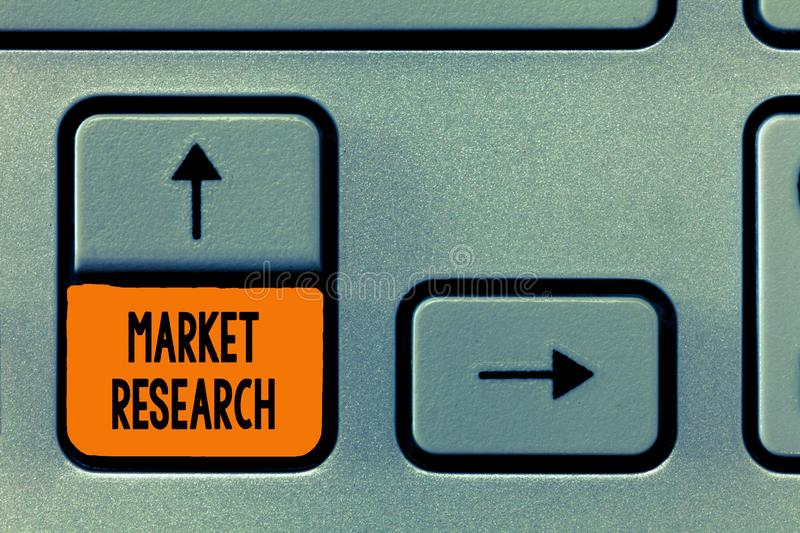 Text sign showing Market Research. Conceptual photo The acttion of gathering information about consumers.  stock photo