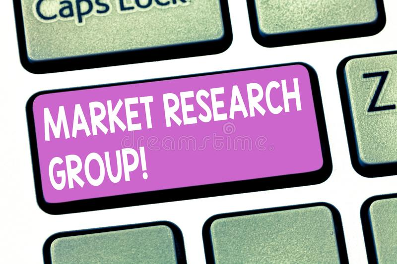 Text sign showing Market Research Group. Conceptual photo gather information about target markets or customers Keyboard. Key Intention to create computer royalty free stock photography