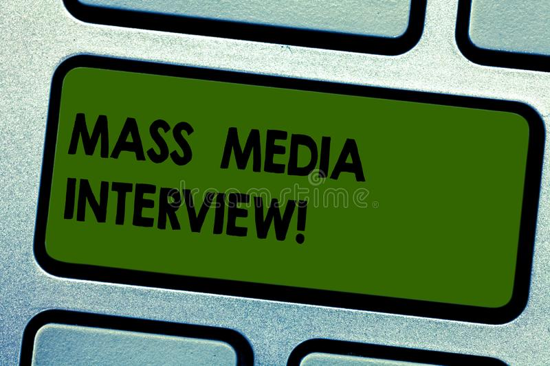 Text sign showing Mass Media Interview. Conceptual photo question and answers for the purpose of broadcast Keyboard key. Intention to create computer message vector illustration