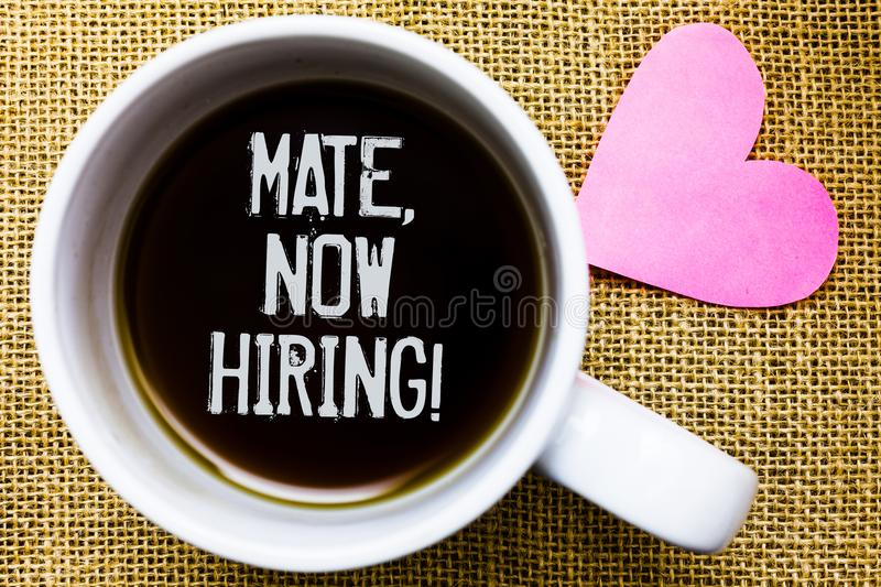 Text sign showing Mate, Now Hiring Motivational Call. Conceptual photo Workforce Wanted Employees Recruitment Tea time coffee cup. Office typing work jute rough stock photography