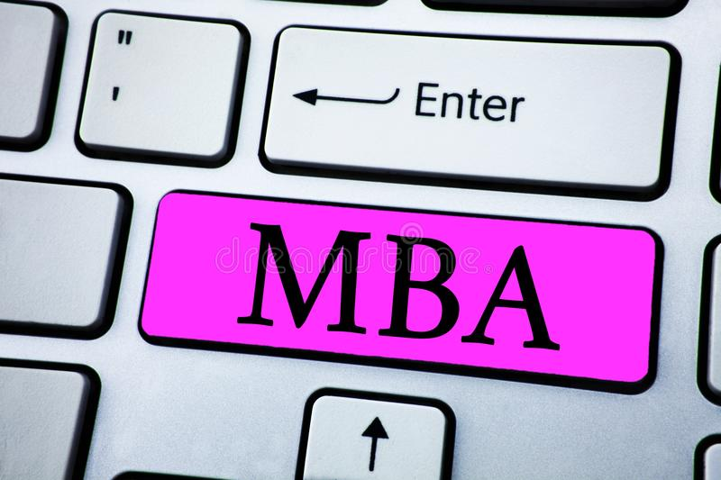 Text sign showing Mba. Conceptual photo Master of Business Administration Advance Degree After College Studies written on Pink Key royalty free stock photos