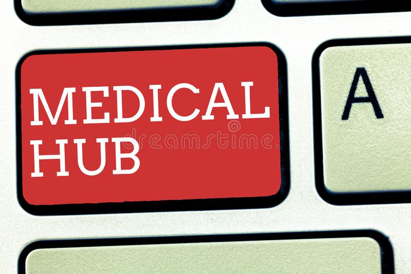Text sign showing Medical Hub. Conceptual photo Common connection point for medical devices in a network.  royalty free stock photo