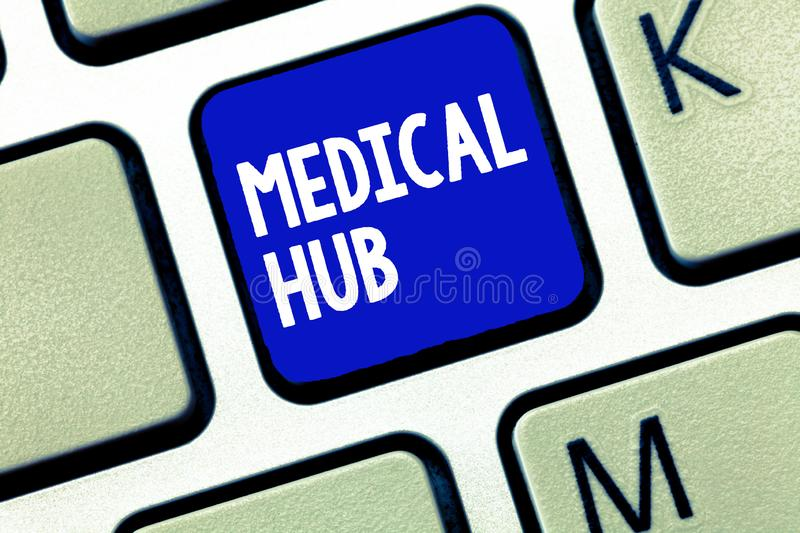 Text sign showing Medical Hub. Conceptual photo Common connection point for medical devices in a network.  royalty free stock image