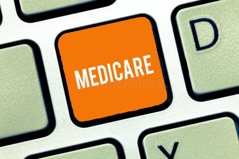 Text sign showing Medicare. Conceptual photo federal government plan in us for paying certain hospital.  stock photography