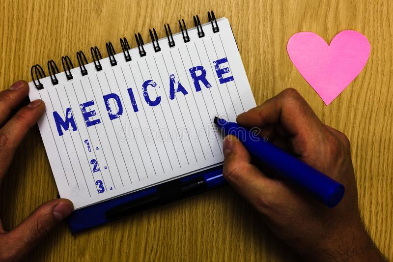 Text sign showing Medicare. Conceptual photo federal government plan in us for paying certain hospital Man holding. Marker notebook page heart romantic messages stock images