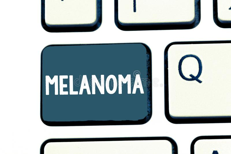 Text sign showing Melanoma. Conceptual photo A malignant tumor associated with skin cancer Benign moles royalty free stock photo