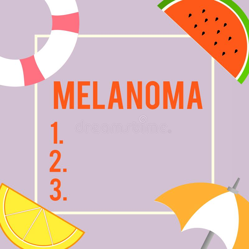 Text sign showing Melanoma. Conceptual photo A malignant tumor associated with skin cancer Benign moles.  stock illustration