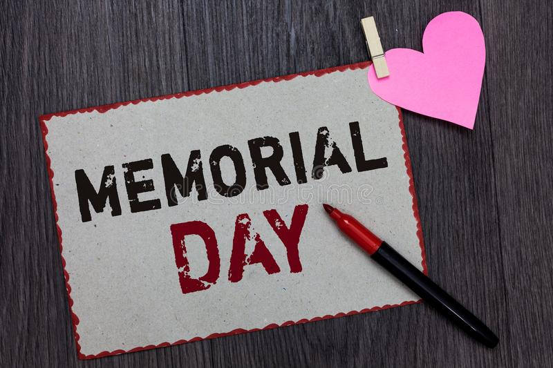 Text sign showing Memorial Day. Conceptual photo To honor and remembering those who died in military service White page red border. S marker clothespin holds royalty free stock photos