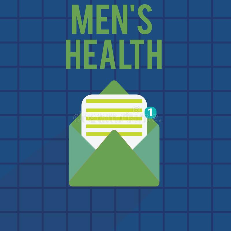 Text sign showing Men s is Health. Conceptual photo State of complete physical and mental wellbeing of men royalty free illustration