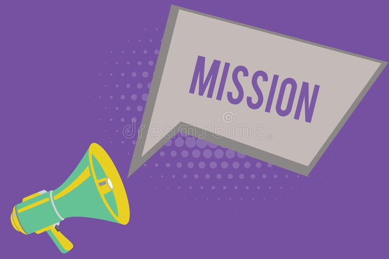 Text sign showing Mission. Conceptual photo Corporate goal Important Assignment Business purpose and focus.  vector illustration