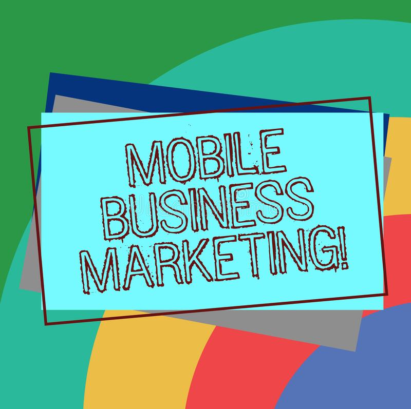 Text sign showing Mobile Business Marketing. Conceptual photo Reaching consumers through mobile phones Pile of Blank Rectangular. Outlined Different Color stock illustration