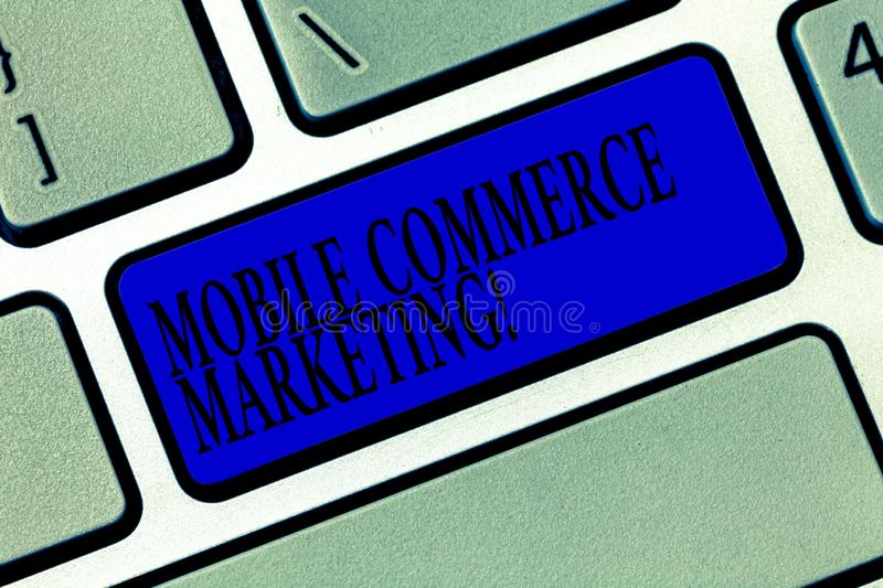 Text sign showing Mobile Commerce Marketing. Conceptual photo Trading goods through wireless handheld devices Keyboard key stock illustration