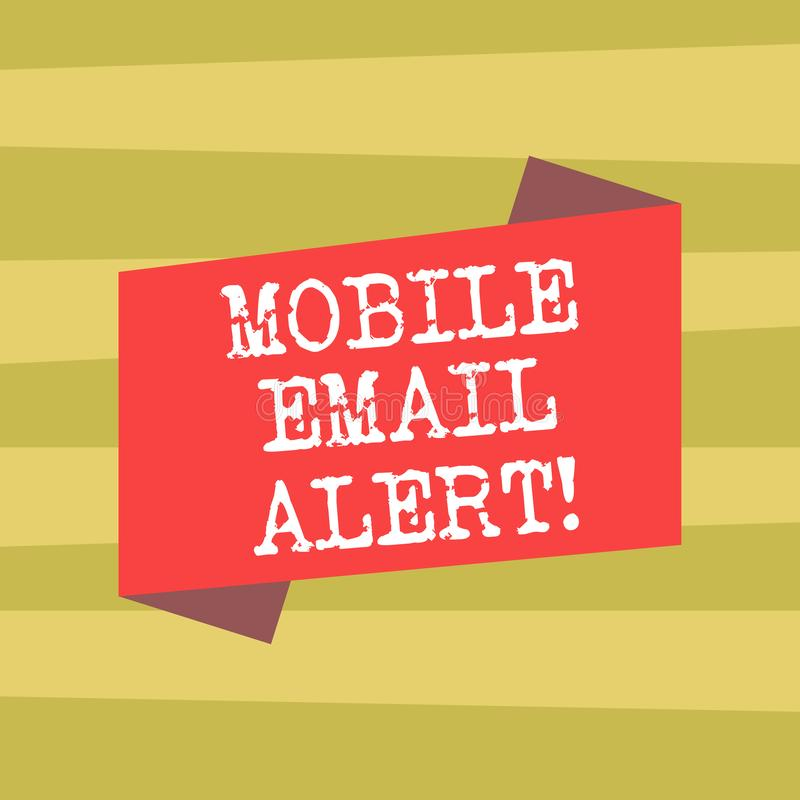 Text sign showing Mobile Email Alert. Conceptual photo machine to demonstrating communication that is time sensitive. Blank Color Folded Banner Strip Flat Style vector illustration