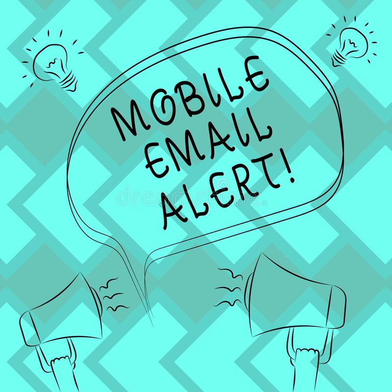 Text sign showing Mobile Email Alert. Conceptual photo machine to demonstrating communication that is time sensitive Freehand. Outline Sketch of Blank Speech vector illustration