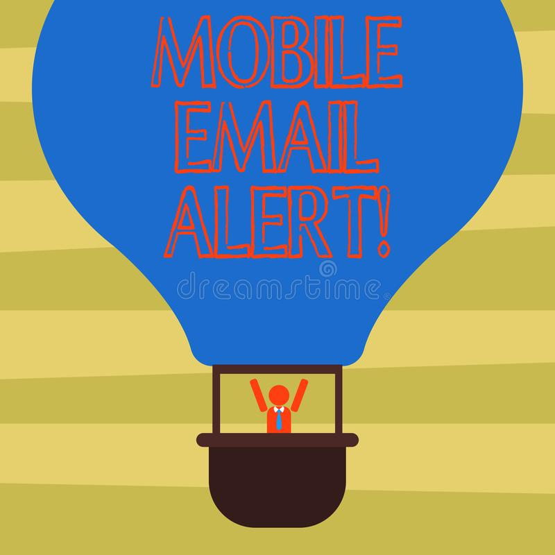 Text sign showing Mobile Email Alert. Conceptual photo machine to demonstrating communication that is time sensitive Hu analysis. Dummy Arms Raising inside stock illustration