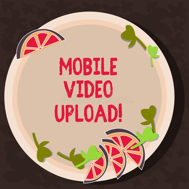 Text sign showing Mobile Video Upload. Conceptual photo add videos on website or blog using cell phone Cutouts of Sliced. Lime Wedge and Herb Leaves on Blank stock illustration