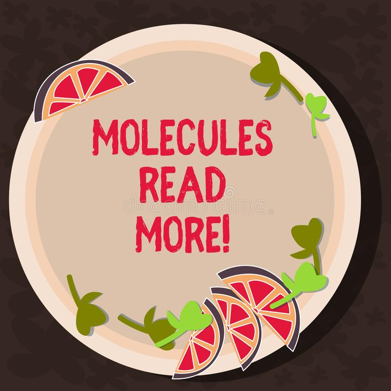 Text sign showing Molecules Read More. Conceptual photo smallest amount of chemical Atom particle mite Cutouts of Sliced. Lime Wedge and Herb Leaves on Blank stock illustration
