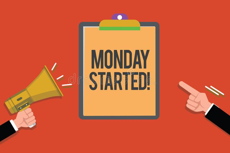 Text sign showing Monday Started. Conceptual photo getting ready for new week Rest is over lets begin work.  vector illustration