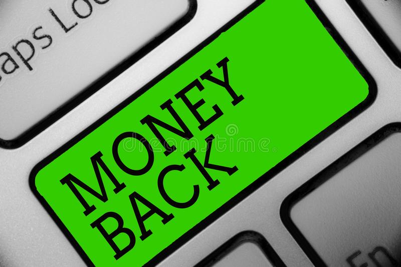 Text sign showing Money Back. Conceptual photo get what you paid in return for defect or problem in product Keyboard green key Int. Ention create computer royalty free illustration