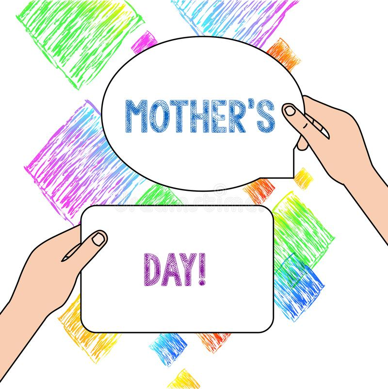 Text sign showing Mother S Day. Conceptual photo day of year where mothers are particularly honoured by children Two vector illustration