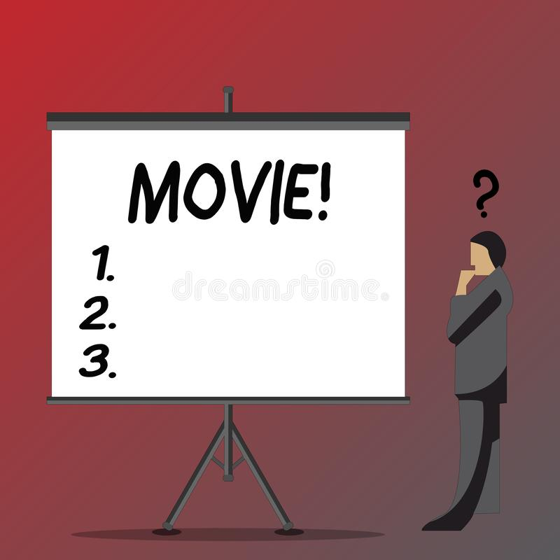 Text sign showing Movie. Conceptual photo Cinema or television film Motion picture Video displayed on screen Businessman. Text sign showing Movie. Business photo vector illustration