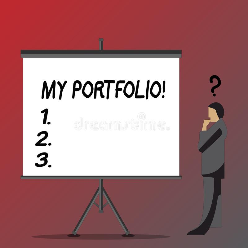 Text sign showing My Portfolio. Conceptual photo Samples of work Art drawings photography Businessman with Question Mark. Text sign showing My Portfolio vector illustration