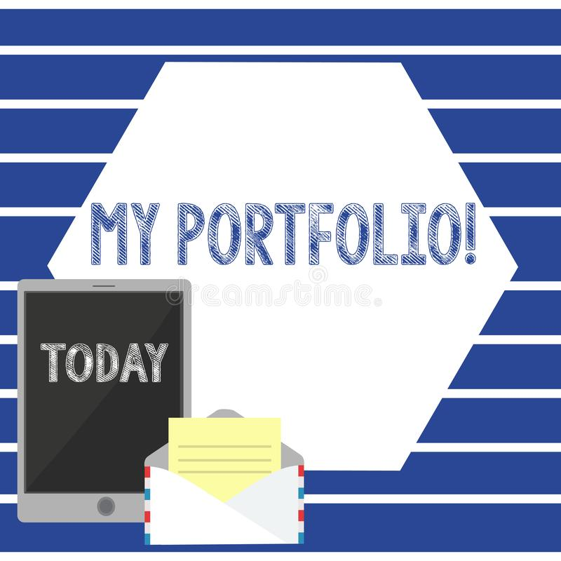 Text sign showing My Portfolio. Conceptual photo Samples of work Art drawings photography Open Envelope with Paper and. Text sign showing My Portfolio. Business royalty free illustration