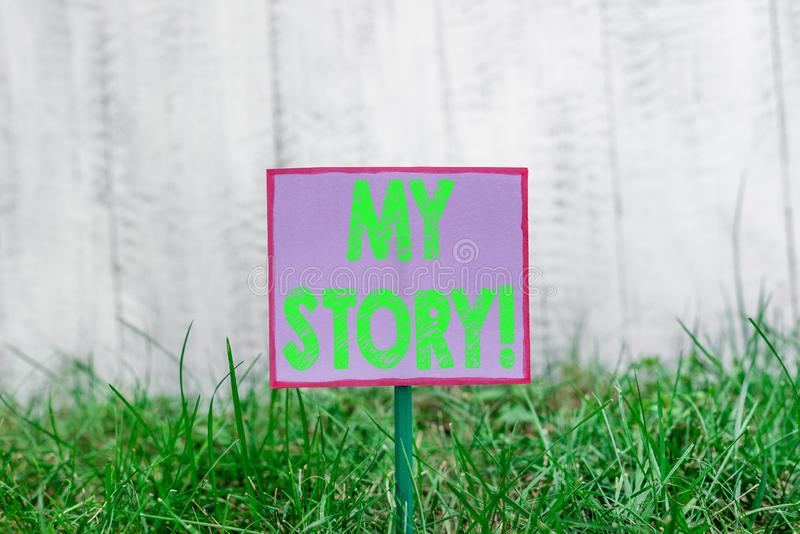 Text sign showing My Story. Conceptual photo your past life events actions or choices you made Plain empty paper. Text sign showing My Story. Business photo text royalty free stock images