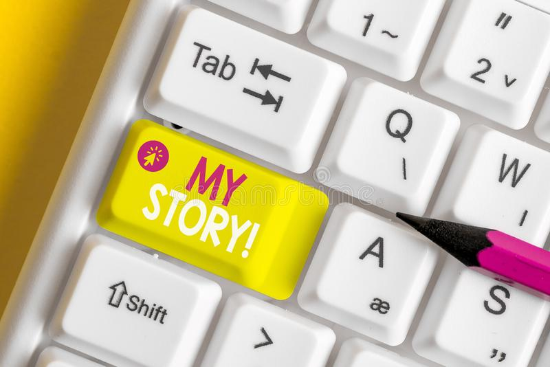 Text sign showing My Story. Conceptual photo your past life events actions or choices you made White pc keyboard with. Text sign showing My Story. Business photo royalty free stock photography