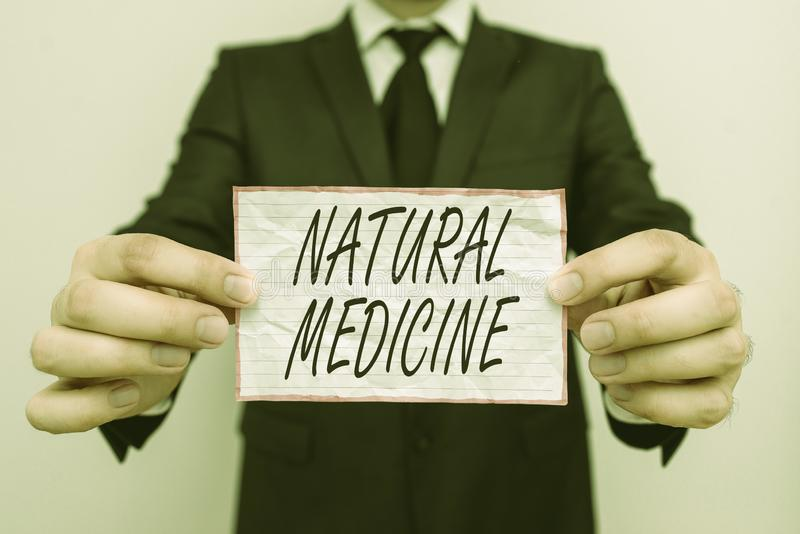 Text sign showing Natural Medicine. Conceptual photo any of various systems of healing or treating disease. Text sign showing Natural Medicine. Business photo royalty free stock photo