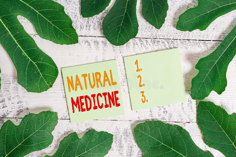Text sign showing Natural Medicine. Conceptual photo any of various systems of healing or treating disease. Text sign showing Natural Medicine. Business photo royalty free stock image