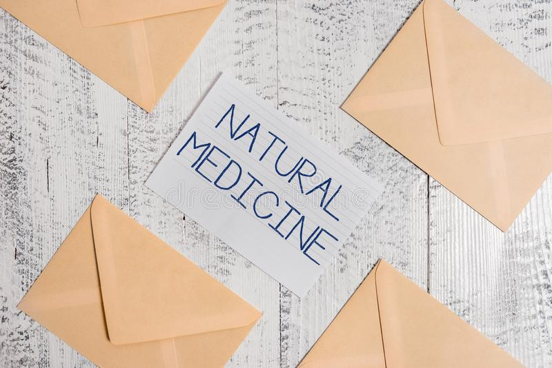 Text sign showing Natural Medicine. Conceptual photo any of various systems of healing or treating disease Four. Text sign showing Natural Medicine. Business royalty free stock photos