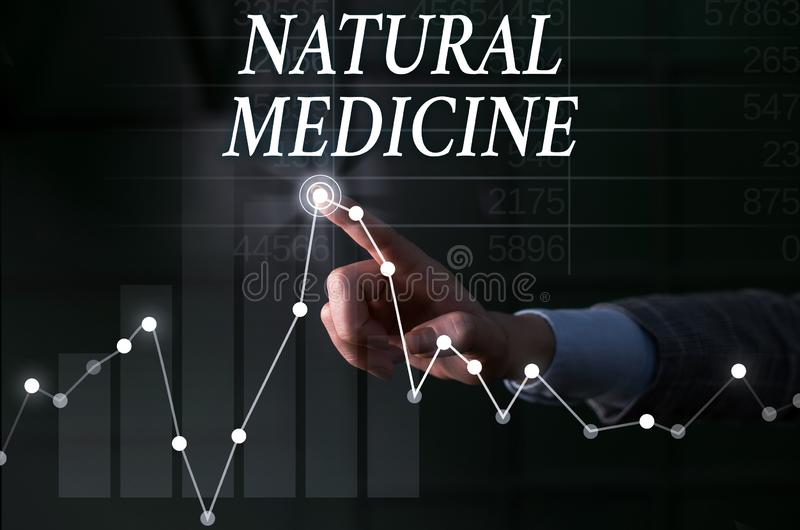 Text sign showing Natural Medicine. Conceptual photo any of various systems of healing or treating disease Lady. Text sign showing Natural Medicine. Business stock image