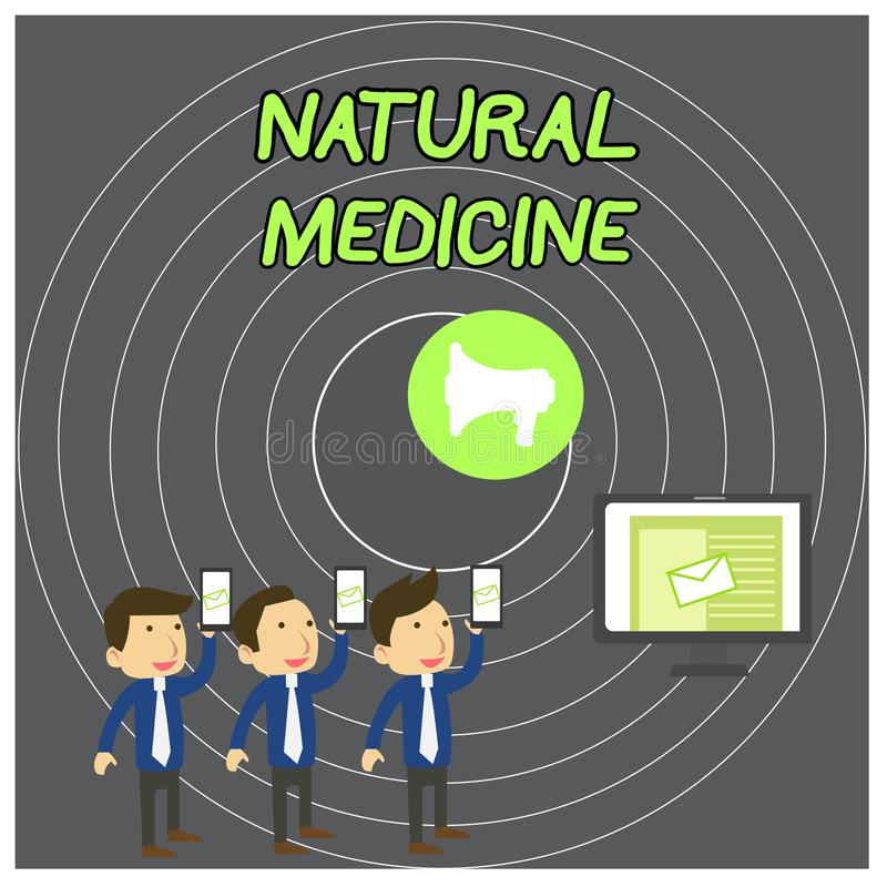Text sign showing Natural Medicine. Conceptual photo any of various systems of healing or treating disease SMS Email. Text sign showing Natural Medicine stock illustration