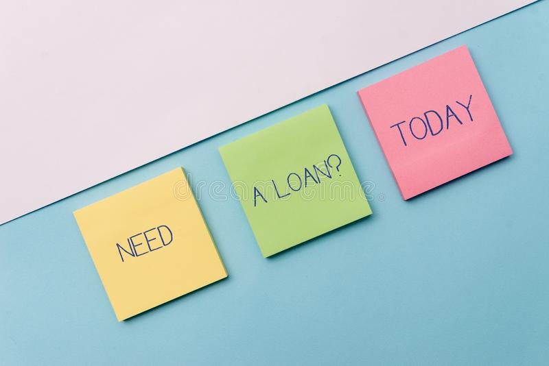 Text sign showing Need A Loan Question. Conceptual photo asking he need money expected paid back with interest Pastel. Text sign showing Need A Loan Question stock photos